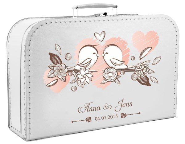 Koffer zur Hochzeit Geschenkkoffer Gastgeschenk weiss Vogelpaar