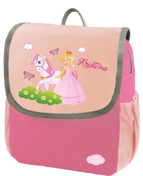 Kindergartenrucksack Happy Knirps NEXT mit Name Pink Prinzessin mit Pferd
