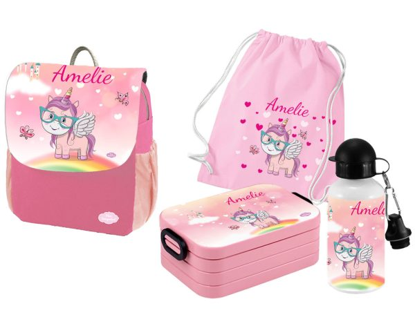 Set 5 Rucksack Happy Knirps NEXT Print - Brotdose Maxi - Trinkflasche - Jutebeutel Pink Motivauswahl