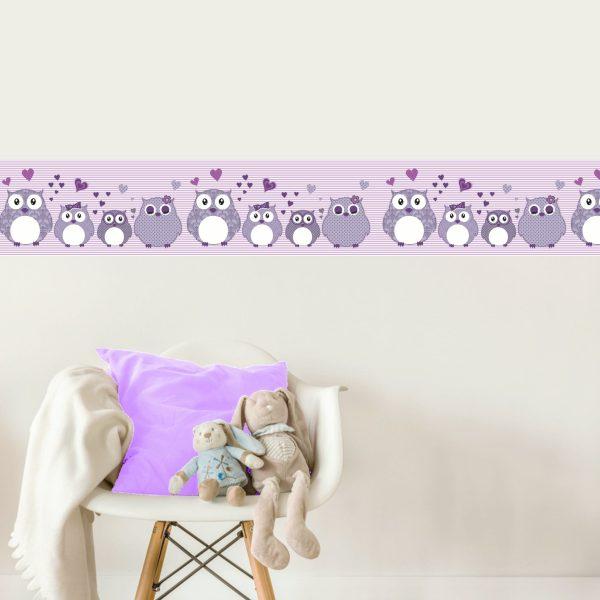Vlies Bordüre selbstklebend fürs Kinderzimmer Patchwork lila ...