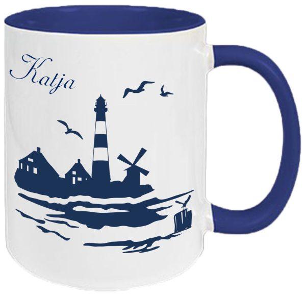 Tasse Navy Maritim Leuchtturm
