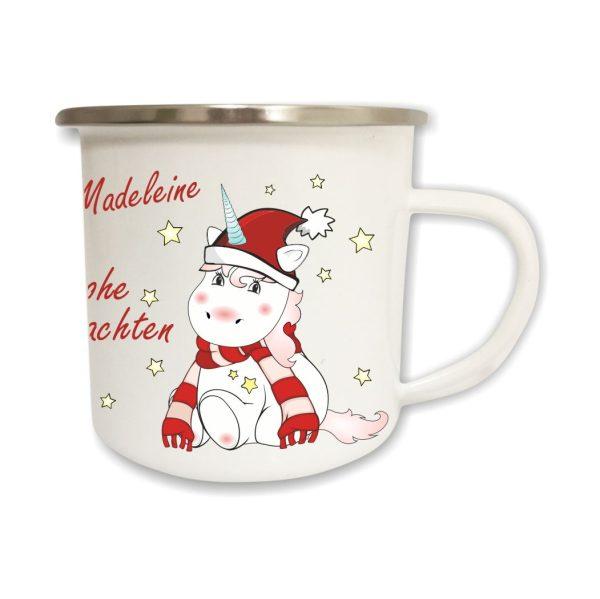 Emailletasse Frohe Weihnachten Einhorn Cutie mit Name