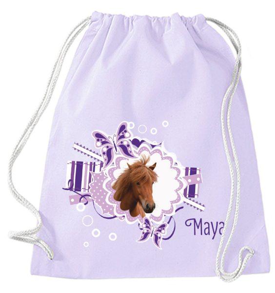 Turnbeutel aus Baumwolle in Lavendel mit Name und Pferdekopf
