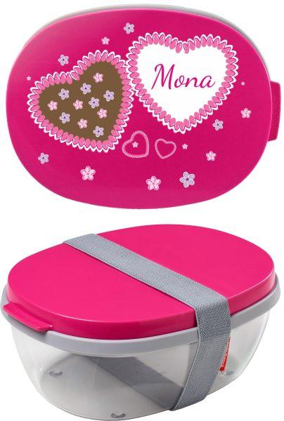 Salatbox Ellipse Pink Herzen