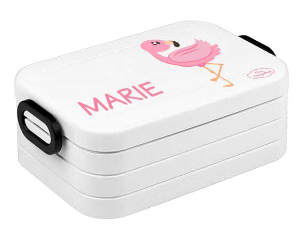 Bento Brotdose Take A Break Midi Weiß Flamingo