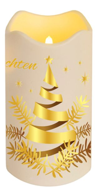 Led Frohe Weihnachten.Led Kerze Kunststoff 18cm Flackernd Frohe Weihnachten Motiv 05