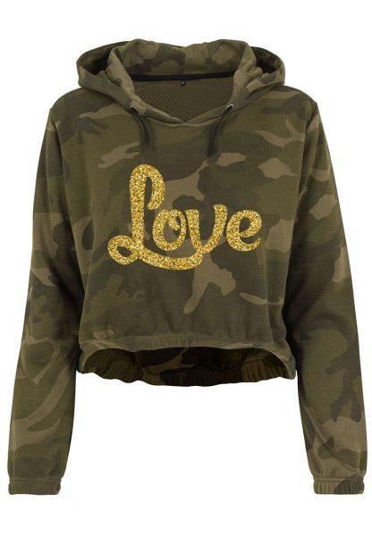 Damen Camouflage Cropped Hoodie Glitzer Love