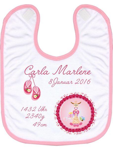 Babylatz rosa Babygiraffe