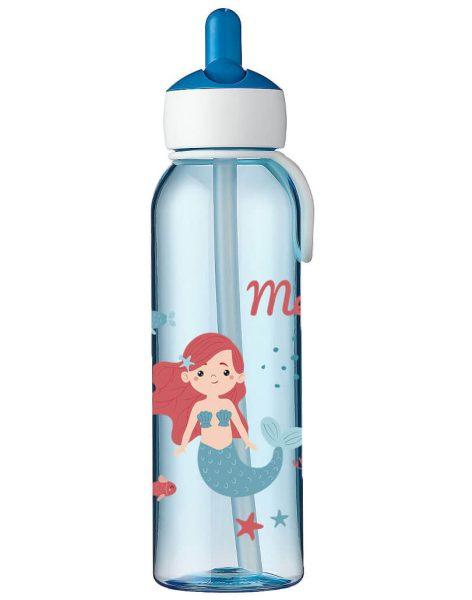 Wasserflasche Mepal Campus Flip-Up in Blau mit Name und Meerjungfrau