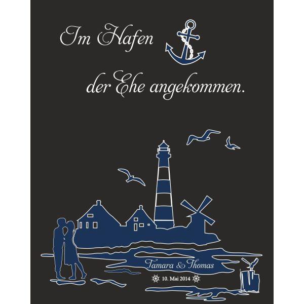 Hochzeitsleinwand Leinwand Fingerabdruckbaum Wedding Tree Gästebuch schwarz - Hafen