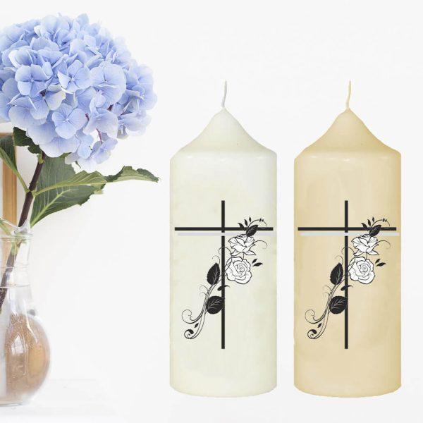 Wachskerze zum Gedenken Kreuz mit Rosen
