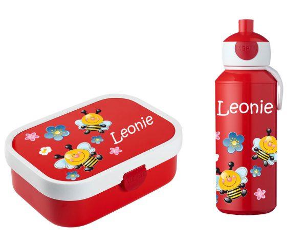 Brotdose Campus mit Bento-Einsatz - Campus Pop-Up Trinkflasche rot Bienen