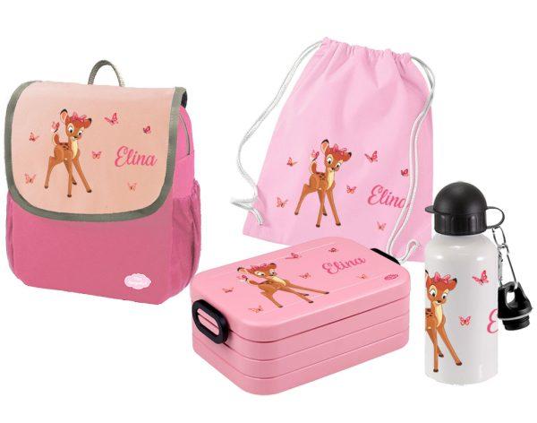 Set 5 Rucksack Happy Knirps NEXT - Brotdose Maxi - Jutebeutel - Trinkflasche Pink Motivauswahl