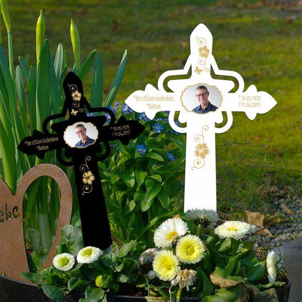 Grabkreuz mit Stern Ranken mit Foto