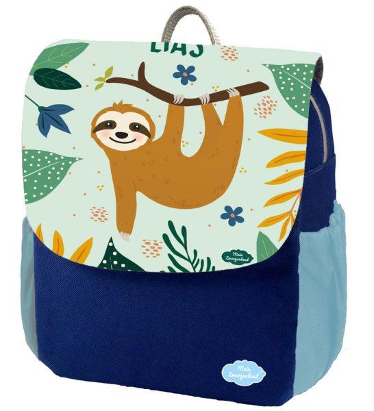 Kindergartenrucksack Happy Knirps NEXT Print mit Name Blau Faultier Junge