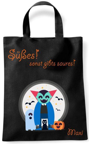 Sammeltasche Stofftasche mit eigenen Namen mini schwarz Halloween Vampir