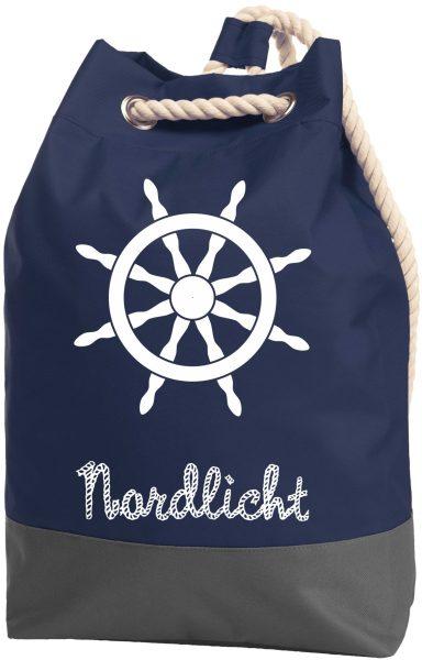 Rucksack Seesack Beutel mit Kordel Maritim Nordlicht
