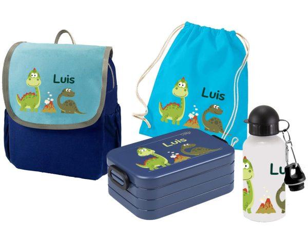 Set 5 Rucksack Happy Knirps NEXT - Brotdose Maxi - Jutebeutel - Trinkflasche Blau Dinos im Park