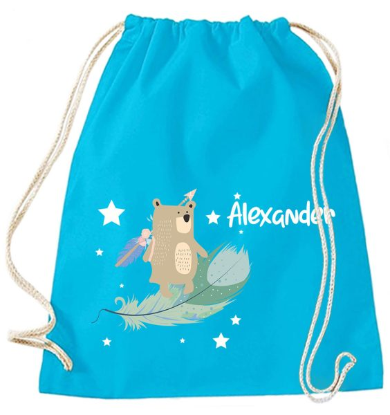 Turnbeutel aus Baumwolle in Surf Blue mit Name und Boho Bär mit Sternen