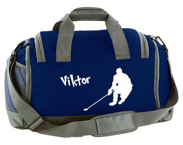 Multi-Sporttasche mit Schuhfach und Feuchtfach in Navy Blau mit Name und Eishockey