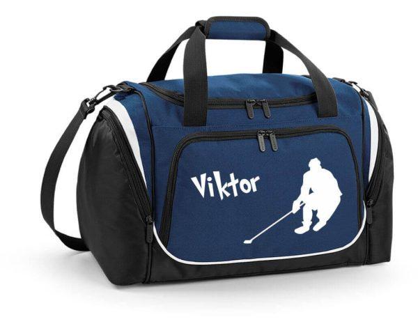 Sporttasche mit Feuchtfach in French Navy Blau mit Name und Eishockey