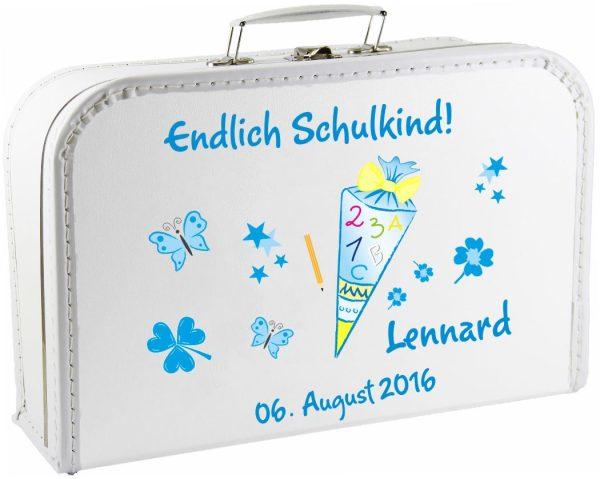Kinderkoffer Spielzeugkoffer Koffer zum Schulanfang blau Schultüte Zuckertüte