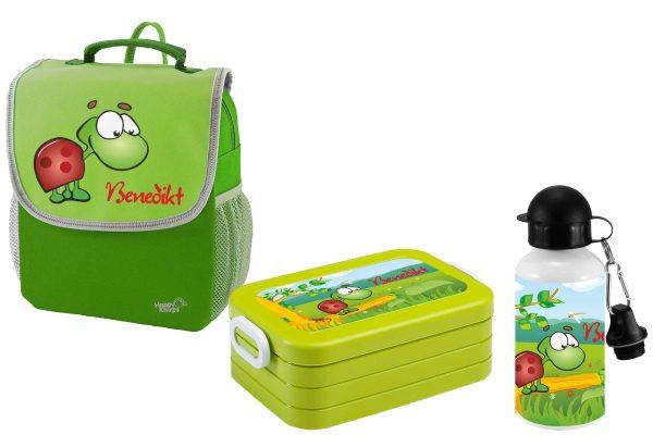 Set 3 Rucksack Happy Knirps NEXT - Brotdose Maxi - Trinkflasche Grün Motivauswahl