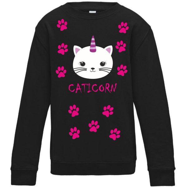 Sweatshirt für Kinder Pullover schwarz Caticorn