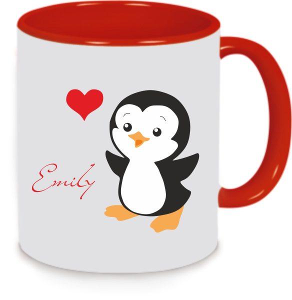 Tasse Pinguin mit Herz