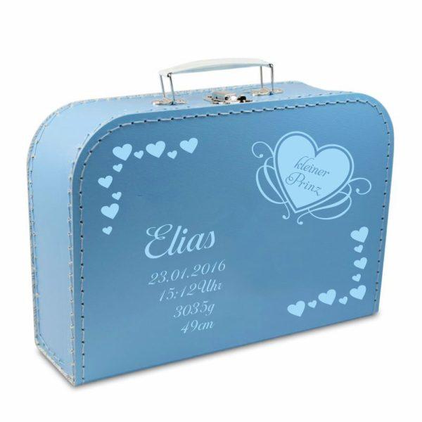 Geschenkkoffer blau Herzen