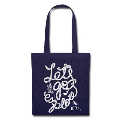 Stofftasche navy Let's go explore