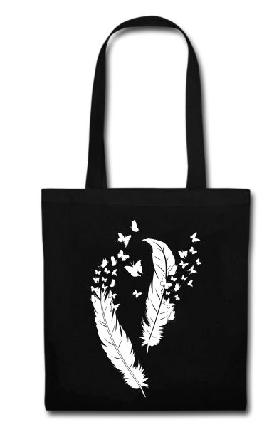 Stofftasche schwarz Federn