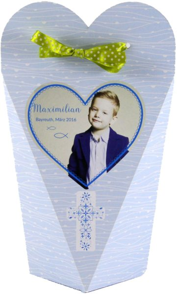 Persönlicher Geschenkkarton zur Kommunion oder Konfirmation (blau)