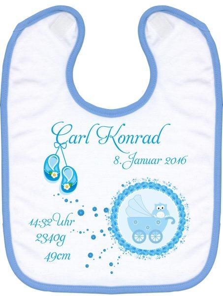 Babylatz blau Eule im Babywagen