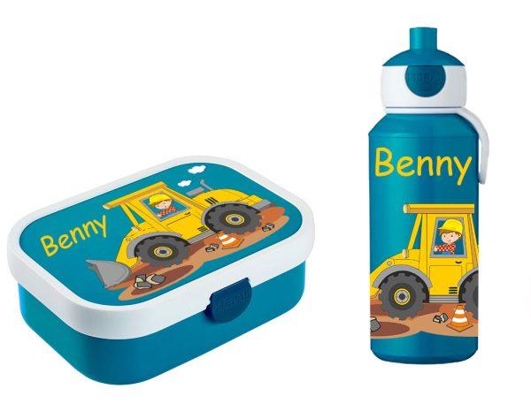 Brotdose Campus mit Bento-Einsatz - Campus Pop-Up Trinkflasche Blau - Motivauswahl