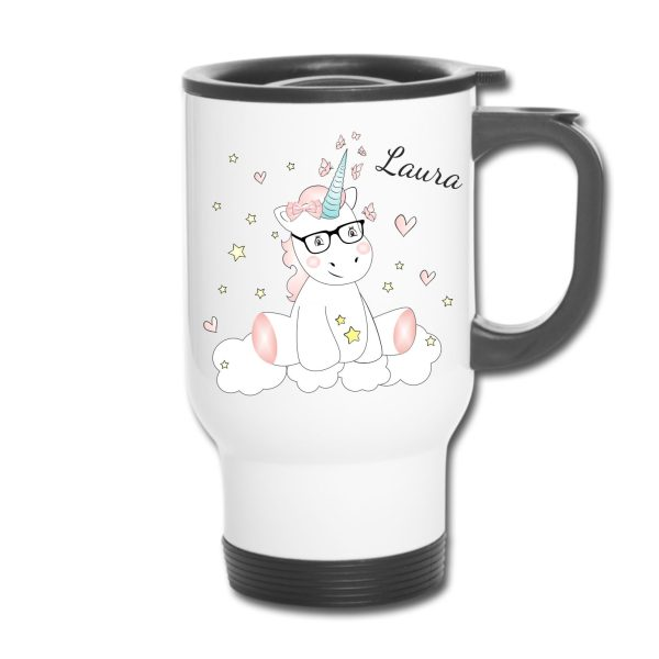 Thermobecher - Unicorn Einhorn cutie mit Brille