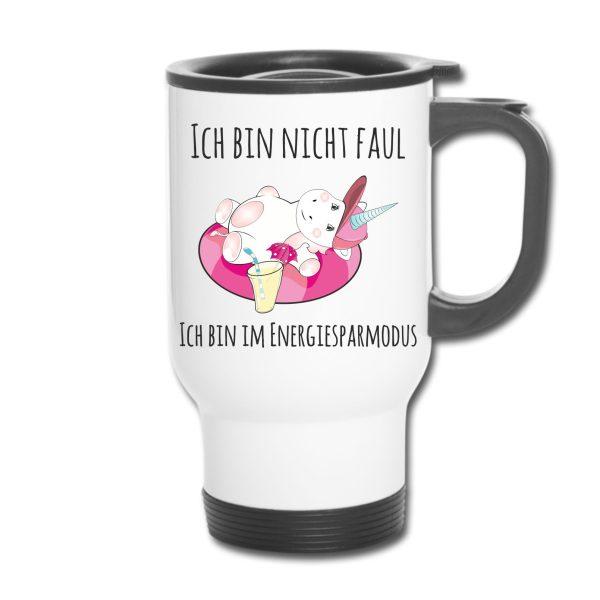 Thermobecher - Unicorn Einhorn cutie chillen Ich bin nicht faul