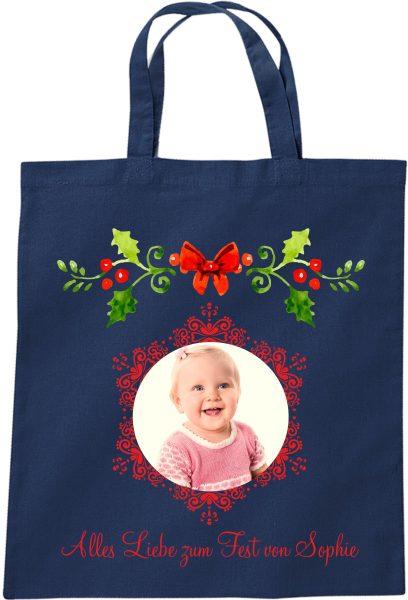 Stofftasche zu Weihnachten Geschenktasche mit Foto und Namen blau Mistelzweig