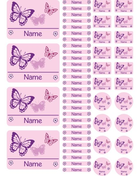 Namensaufkleber Heftaufkleber Stickerbogen Schmetterlinge