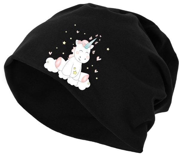 Jersey Beanie Mütze Wintermütze Unicorn Einhorn cutie