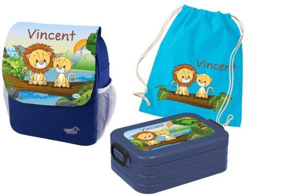 Set 4 Rucksack Happy Knirps NEXT Print, Brotdose Maxi und Turnbeutel aus Baumwolle Blau, vers. Motiv