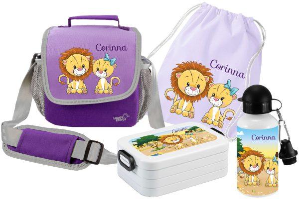 Set 5 Tasche Happy Knirps + Brotdose Mepal + Turnbeutel aus Baumwolle + Trinkflasche lila Löwe