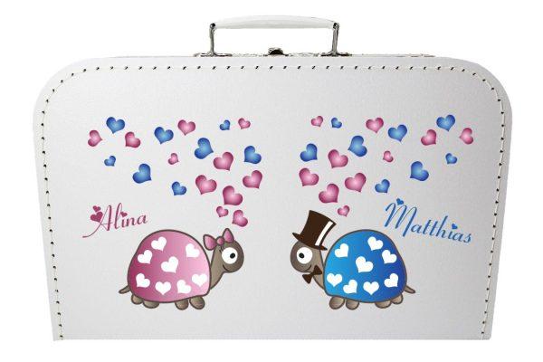 Koffer zur Hochzeit in weiss mit Schildkröten