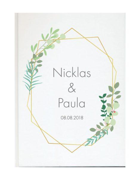 Personalisiertes Gästebuch für Ihre Hochzeit Geometrischer Rahmen