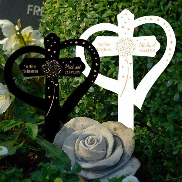 Grabkreuz mit Herz Pusteblume aus Herzen