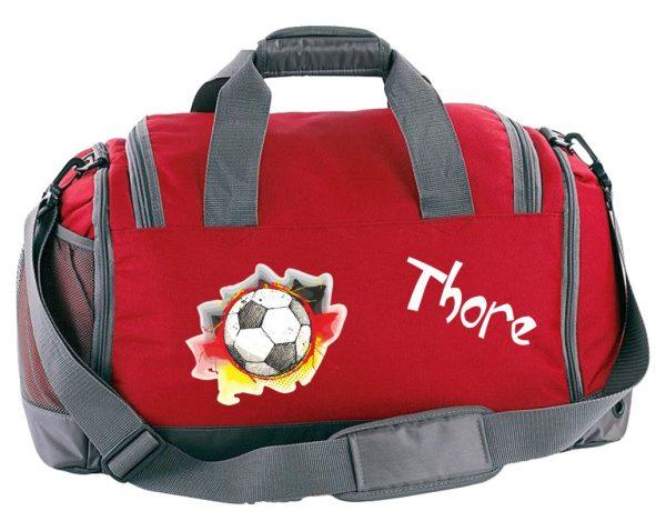 Multi-Sporttasche mit Schuhfach und Feuchtfach in Rot mit Name und Fußball Deutschland