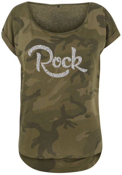 Damen Camouflage T-Shirt Glitzer Rock