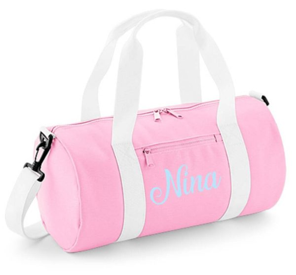 Sporttasche Barrel in Rosa mit Name