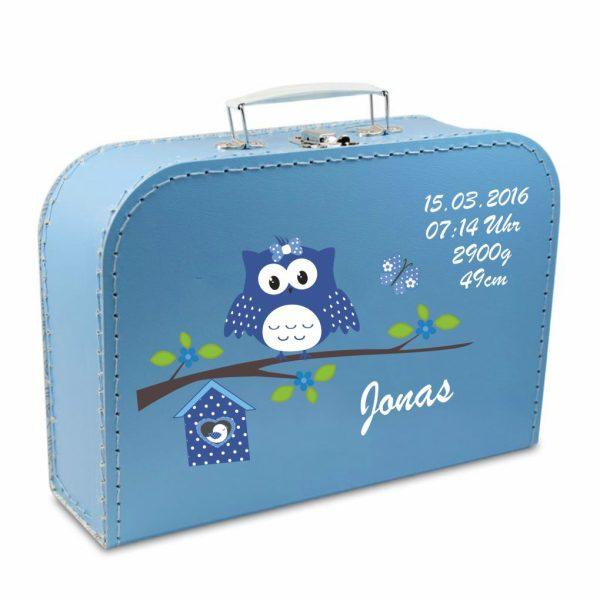 Geschenkkoffer blau Happy Eule