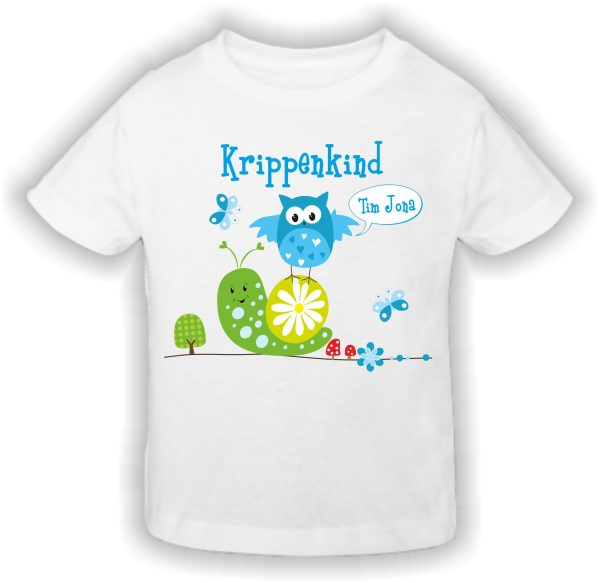 Krippen T-Shirt Krippenkind blau Schnecke Eule